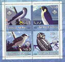 Eritrea 2002 Birds #01 perf sheetlet containing set of 4 values with Scout Logo unmounted mint