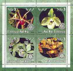 Eritrea 2002 Orchids #02 perf sheetlet containing set of 4 values with Rotary Logo unmounted mint