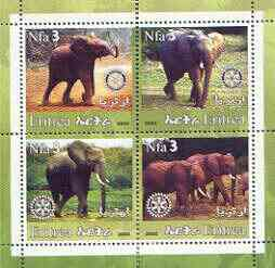 Eritrea 2002 Elephants #02 perf sheetlet containing set of 4 values with Rotary Logo unmounted mint