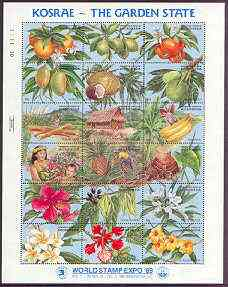 Micronesia 1989 Expo 89 Stamp Exhibition sheetlet of 18 containing Fruit & Flowers unmounted mint, SG 155-72