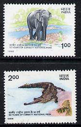 India 1986 National Park set of 2 (Elephant & Gharial) unmounted mint SG 1224-25