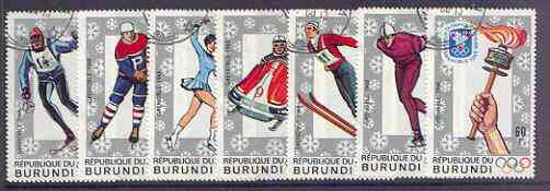 Burundi 1968 Grenoble Winter Olympic Games perf set of 7 fine cto used, SG 339-45