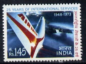 India 1973 Air India 25th Anniversary of Services (1r 45 value) unmounted mint SG 686