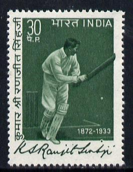 India 1973 Ranjitsinhji Commem (Cricketer) 30p value unmounted mint, SG 695