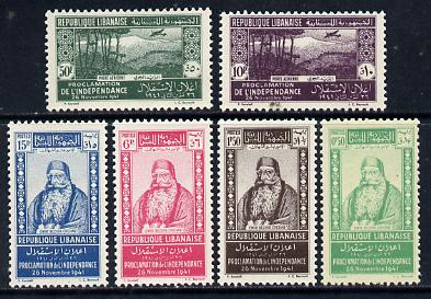 Lebanon 1942 Independence perf set of 6 unmounted mint, SG 252-57