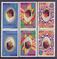 Belize 1982 21st Birthday of Princess of Wales (small format) set of 3 in tete-beche pairs unmounted mint, SG 680-82, stamps on royalty, stamps on diana