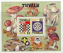 Tuvalu 1986 Events perf m/sheet showing Chess, Rotary, Scout Anniversary with decoative border (Fungi) and numbered, unmounted mint as SG MS 376