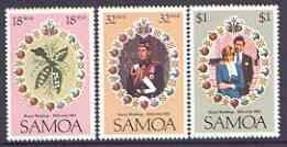 Samoa 1981 Royal Wedding perf set of 3 unmounted mint, SG 599-601