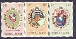 Sierra Leone 1981 Royal Wedding (1st Issue) perf set of 3 unmounted mint, SG 668-70