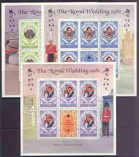 Sierra Leone 1981 Royal Wedding (2nd Issue) perf 12 set of 3 each in sheetlets of 5 plus label unmounted mint, SG 671-73