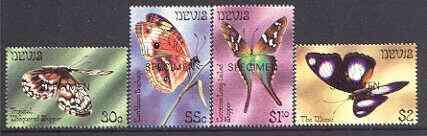 Nevis 1983 Butterflies (2nd series) perf set of 4 opt'd SPECIMEN, as SG 105-108 unmounted mint