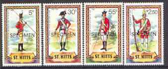 St Kitts 1981 Military Uniforms (1st series) perf set of 4 opt