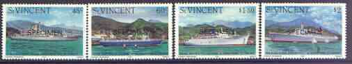 St Vincent 1982 Ships perf set of 4 opt'd SPECIMEN unmounted mint, as SG 706-09 unmounted mint