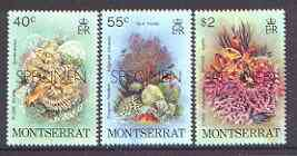 Montserrat 1979 Marine Life perf set of 3 opt'd SPECIMEN, as SG 453-55 unmounted mint