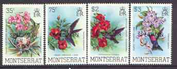 Montserrat 1983 Hummingbirds perf set of 4 opt'd SPECIMEN, as SG 571-74 unmounted mint