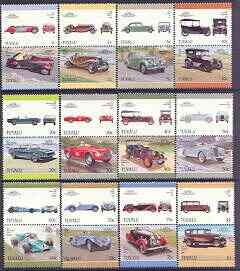Tuvalu 1987 Cars #5 (Leaders of the World) set of 24 unmounted mint, SG 446-69, stamps on cars, stamps on talbot, stamps on riley, stamps on ferrari, stamps on chevrolet, stamps on mustang, stamps on sunbeam, stamps on  matra, stamps on plymouth