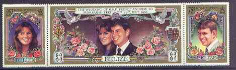 Belize 1986 Royal Wedding perf se-tenant strip of 3 unmounted mint, SG 941a