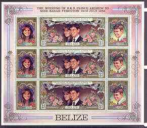 Belize 1986 Royal Wedding perf sheetlet of 9 containing 3 se-tenant strips of 3 unmounted mint, as SG 941a