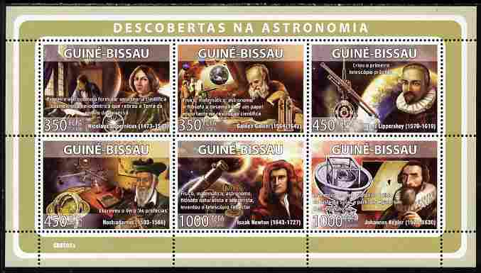 Guinea - Bissau 2008 Pioneers of Astronomy perf sheetlet containing 6 values unmounted mint Michel 3930-35
