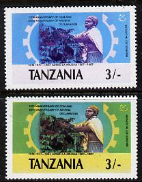 Tanzania 1987 Chama Cha 3s (Coffee Harvesting) with yellow omitted plus normal unmounted mint (SG 509var)