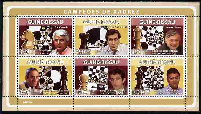 Guinea - Bissau 2008 Chess Champions perf sheetlet containing 6 values unmounted mint Michel 3937-42