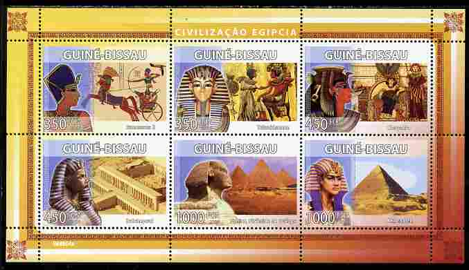 Guinea - Bissau 2008 Egyptology perf sheetlet containing 6 values unmounted mint Michel 3937-42