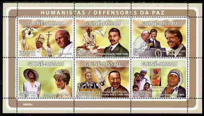 Guinea - Bissau 2008 Humanitarians perf sheetlet containing 6 values unmounted mint Michel 3951-56