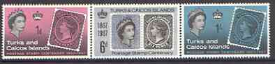 Turks & Caicos Islands 1967 Stamp Centenary perf set of 3 unmounted mint, SG 288-90