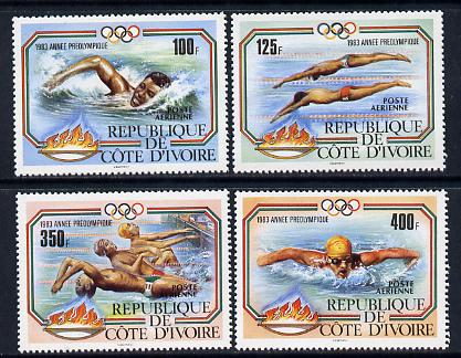 Ivory Coast 1983 Pre Olympics (Swimming) set of 4 unmounted mint SG 774-7