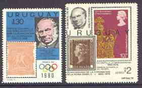 Uruguay 1979 Rowland Hill perf set of 2 unmounted mint, stamps on rowland hill, stamps on stamp on stamp, stamps on stamponstamp