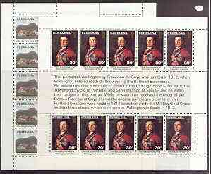 St Helena 1980 75th Anniversary of Wellington's Visit perf set of 2 each in sheetlets of 10 with text unmounted mint, SG 367-68