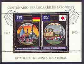 Equatorial Guinea 1972 Japanese Trains Centenary m/sheet containing 2 vals (Steam trains 200+25p) in gold with white background (Mi BL 39) fine cto used
