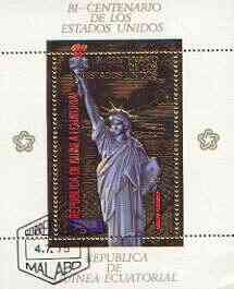 Equatorial Guinea 1975 USA Bicentenary perf sheetlet #1 containing 200E val (Statue of Liberty) in gold with white background, fine cto used, Mi BL178