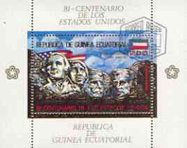 Equatorial Guinea 1975 USA Bicentenary perf sheetlet #2 containing 200E val (Mount Rushmore) in gold with white background, fine cto used, Mi BL179