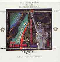 Equatorial Guinea 1975 USA Bicentenary perf s/sheet containing 2 vals in gold with white background, fine cto used, Mi BL180