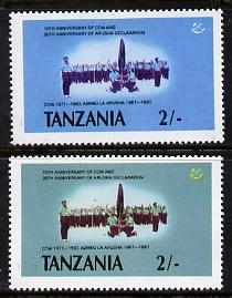 Tanzania 1987 Chama Cha 2s unmounted mint with yellow omitted (possibly a proof) plus normal (SG 508var)