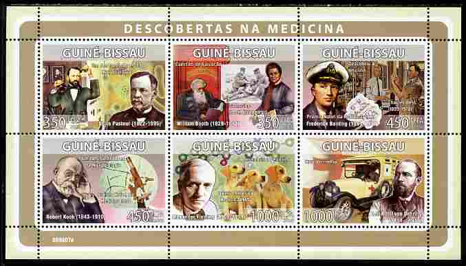 Guinea - Bissau 2008 Pioneers of Medicine perf sheetlet containing 6 values unmounted mint Michel 3965-70