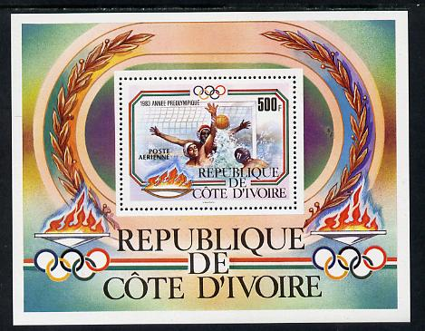 Ivory Coast 1983 Pre Olympics 500f m/sheet (Water polo) unmounted mint