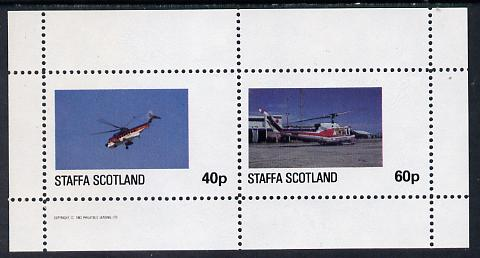 Staffa 1982 Helicopters #2 perf set of 2 values (40p & 60p) unmounted mint, stamps on aviation    helicopter