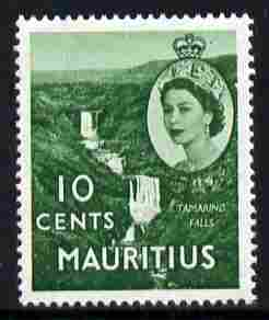 Mauritius 1953-58 Tamarind Falls 10c bluish-green Script CA wmk unmounted mint SG 297
