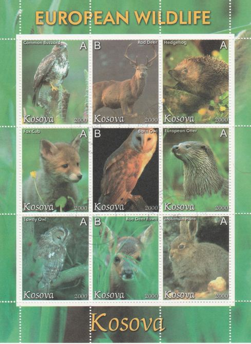 Kosova 2000 European Wildlife perf sheetlet containing set of 9 values fine cto used