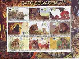 Angola 2000 Big Cats perf sheetlet containing set of 9 values (horiz format) each with Rotary & Scouts Logos, fine cto used, stamps on cats, stamps on lions, stamps on tigers, stamps on leopards, stamps on cheetahs, stamps on rotary, stamps on scouts