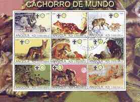 Angola 2000 Wolves perf sheetlet containing set of 9 values each with Rotary & Scouts Logos, fine cto used