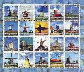Congo 2002 Windmills complete perf set of 20 unmounted mint
