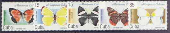 Cuba 1997 Butterflies complete perf set of 5 values unmounted mint, SG 4164-68