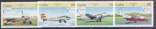 Cuba 1996 Espamer 96 Stamp Exhibition (Aircraft) complete perf set of 4 values unmounted mint, SG 4058-61