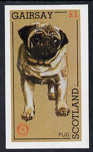 Gairsay 1984 Rotary -Dogs (Pug) imperf souvenir sheet (�1 value) unmounted mint