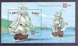 Cuba 1996 Capex 96 Stamp Exhibition (18th Century Sailing Ships) perf miniature sheet unmounted mint, SG MS4078