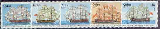 Cuba 1996 Capex 96 Stamp Exhibition (18th Century Sailing Ships) perf set of 5 values unmounted mint, SG 4073-77