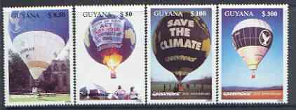 Guyana 1996 25th Anniversary of Greenpeace (Hot Air Balloons) perf set of 4 unmounted mint